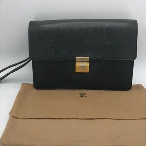 Authentic Louis Vuitton Green Wristlet Clutch Bag